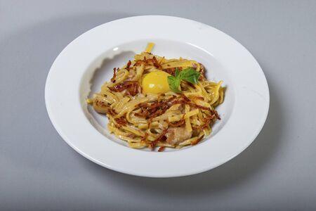 Spaghetti Carbonara In A White Plate