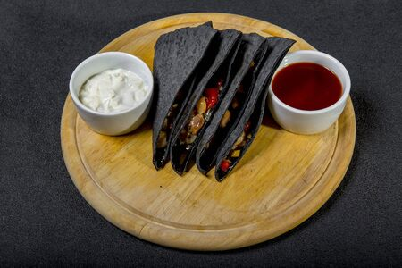 Black Tortilla With Vegetable Stuffing