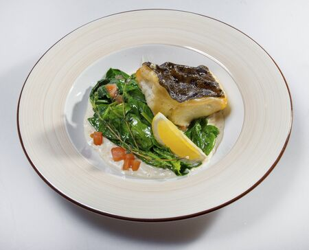 Fried Halibut With Stewed Spinach