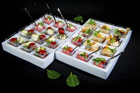 Set Of Various Appetizers And Snacks Stock Photo - 127345190