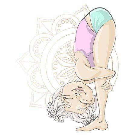 Female yoga. Vector illustration of beautiful cartoon woman. Ilustracja