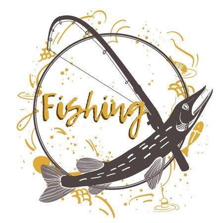 Fishing logo. Pike. Fishing vector illustration. Isolated on white. Illustration