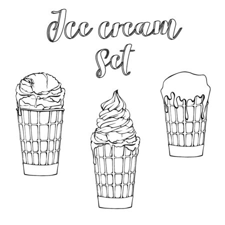 Waffle cup set. Sketch ice cream objects, hand drawn ice creams. Sweet dessert. Isolated white background. Vector illustration. Illustration