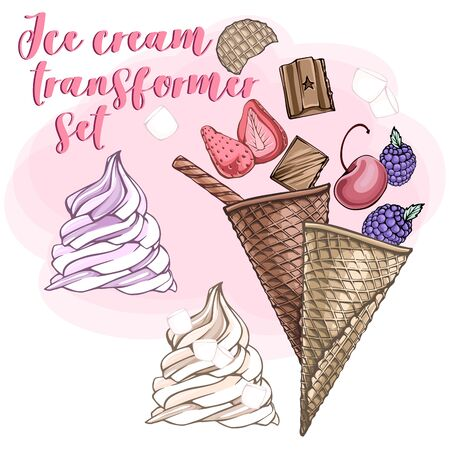 Cone cup Ice cream transformer set with chocolate, vanilla, strawberry, cherry, blackberry, waffle sticks, biscuit cookie, and marshmallows. Sweet dessert. Isolated white background. Vector illustration.