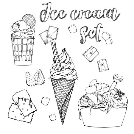 Set of Ice Cream served in different bowl: waffle cone, waffle cup and paper bowl. Vector hand drawn illustration. Sketch ice cream objects. Sweet dessert. Isolated white background. Vector illustration.