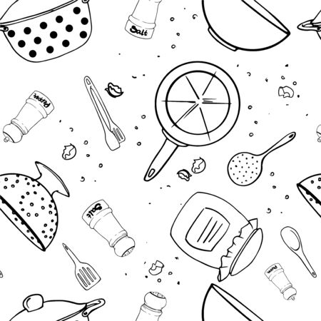 Seamless pattern of kitchen utencil. Wooden spoon, skimmer, colander, tongs, bowl, salt shaker, pepper box, frying-pans, saucepot. Line art vector cartoon flat icon isolated on white background.