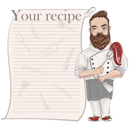Chef in a cook hat holds a fork with a steak in one hand and a knife in the other. Vector cartoon character. Recipe card template for cookbook
