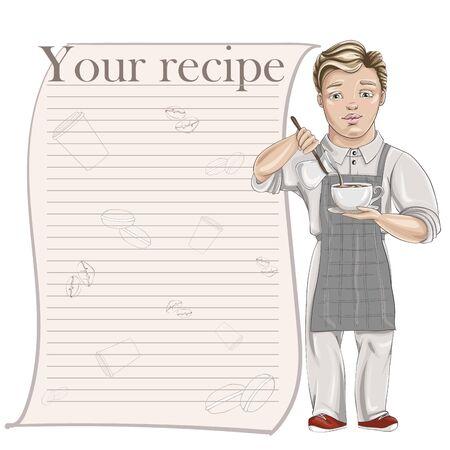 Barista pours milk into espresso. Vector cartoon character. Recipe card template for cookbook Ilustracje wektorowe