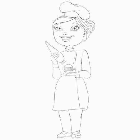 Confectioner is holding a pastry bag and in his other hand is a cupcake. Line art vector cartoon character.
