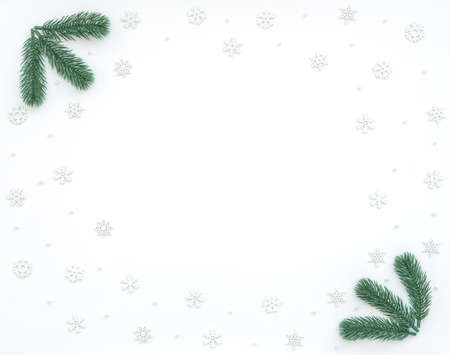 Christmas, New Year or winter white background with fir tree branches, small white snowflakes, beads. Xmas and Happy New Year holiday concept. New Year greeting card. Flat lay, top view, copy space.