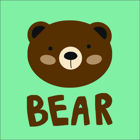 Cute bear design with lettering