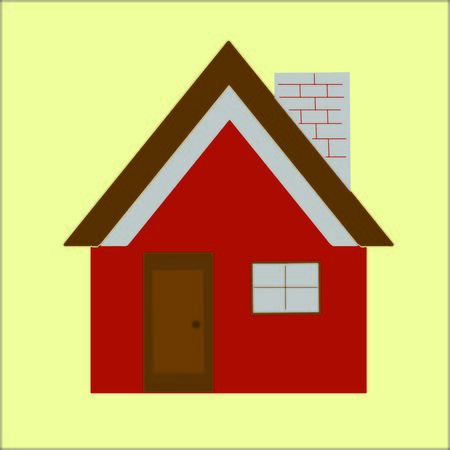 red wall: Modern house with red wall vector