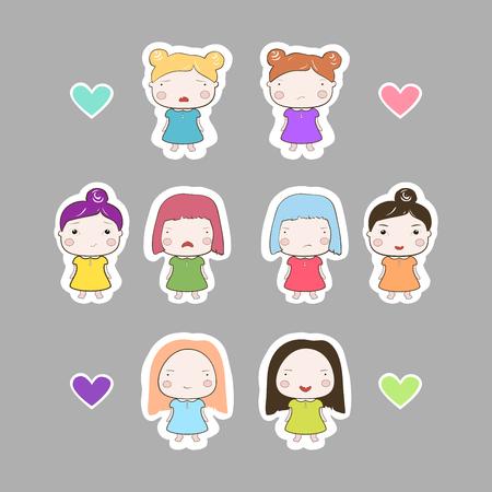 babygirl: Cute cartoon style drawing little cutie babygirl cutout style sticker set