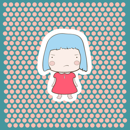 babygirl: Cute cartoon style drawing little cutie babygirl on doted background