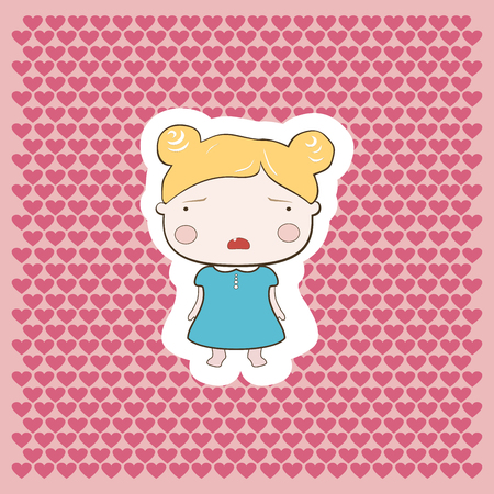 colourfull: Cute cartoon style drawing little cutie babygirl cutout style