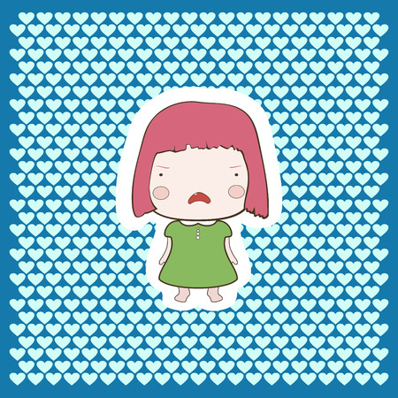 aplication: Cute cartoon style drawing little cutie babygirl cutout style