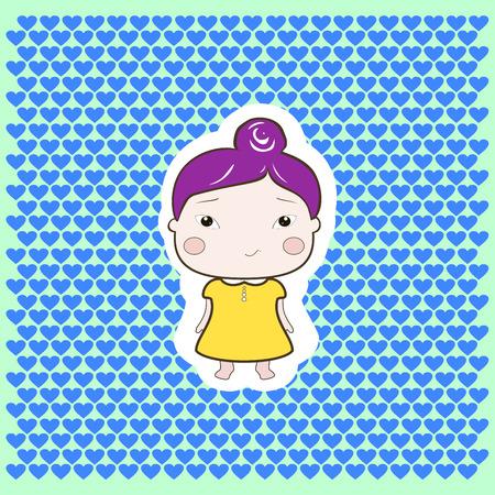babygirl: Cute cartoon style drawing little cutie babygirl cutout