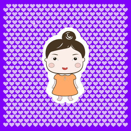 colourfull: Cute cartoon style drawing little cutie babygirl cutout
