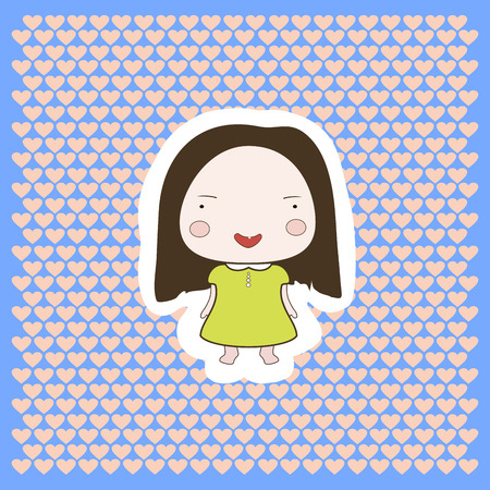 aplication: Cute cartoon style drawing little cutie babygirl cutout