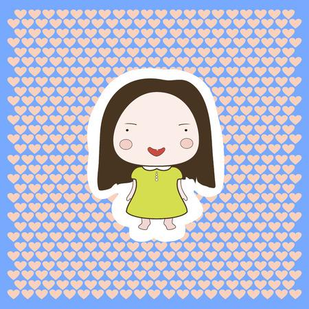 Cute cartoon style drawing little cutie babygirl cutout