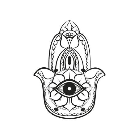 egyptian lily: Black hamsa Fatima hand protection symbol on white background