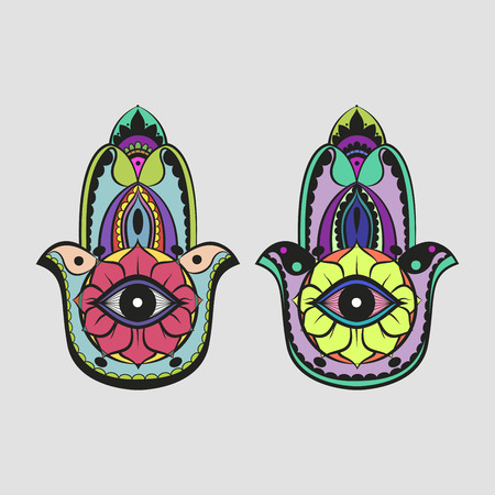 Colorful bright candycolor hamsa Fatima hand protection symbol on white background