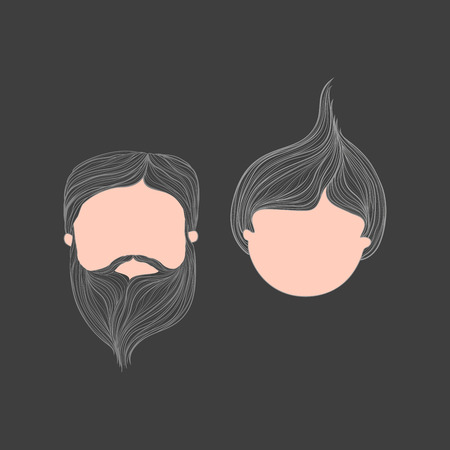 aplication: Man & Girl Head Vector illustration Avatar Set