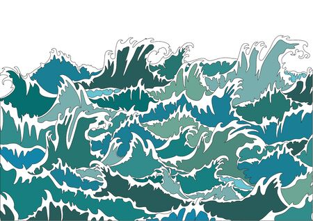 water flowing: Storm ocean waves Illustration
