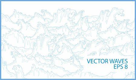 water flowing: Ocean Waves Vector Illustration Simple Lines Drawing