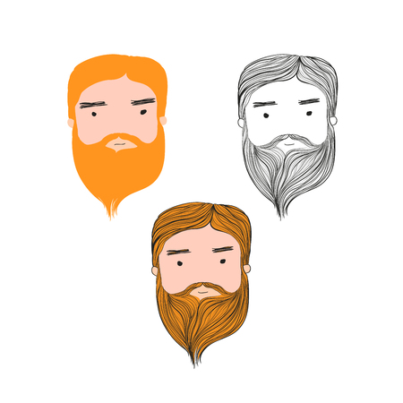 Vector illustration red hair beard hansome man head set on white background