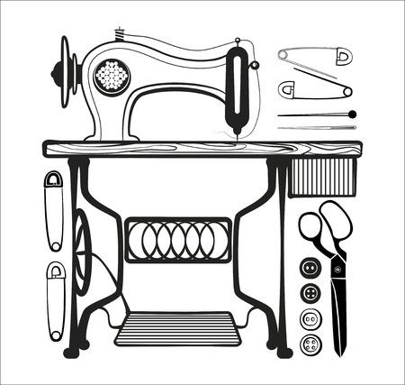 stuff: Set of sewing stuff black lines illustrations Illustration