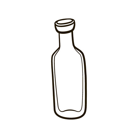fashioned: Empty old fashioned milk bottle icon. Hand drawing contour illustration on white background