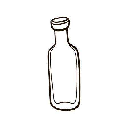 jarra de cerveza: Vaciar el icono de la antigua botella de leche. Ilustración de contorno de dibujo a mano sobre fondo blanco