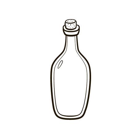 Old fashioned  vintage bottle hand drawing on white background Illustration