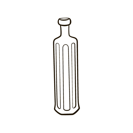 cutglass: Retro vintage cut-glass  bottle icon. Hand drawing contour illustration on white background Illustration