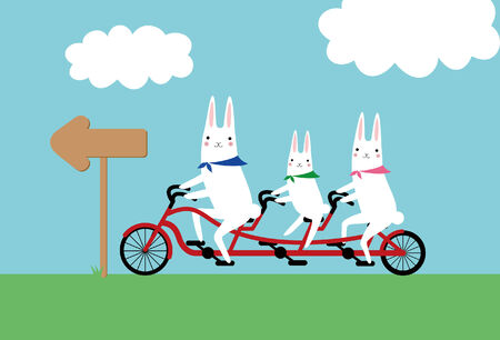 rabbits and a tandem bicycle Vector