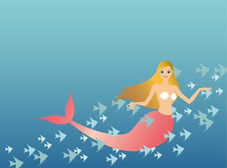 mermaid and fish Stock Vector - 8173777