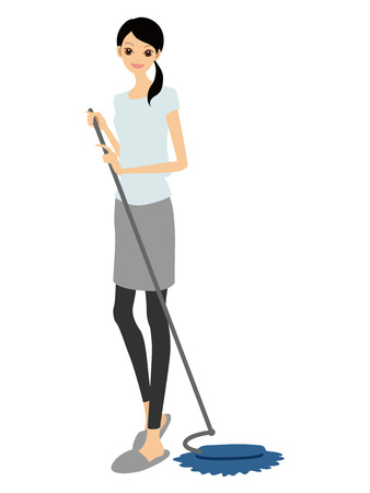 mop: Cleaning and a woman  Illustration