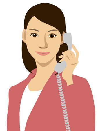A woman and telephone