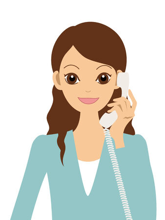 A woman and telephone  Stock Vector - 8397603