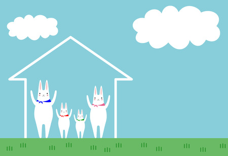 rabbits and house Illustration