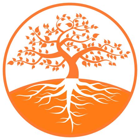 Un grand arbre et le logo marque  Banque d'images - 8385281