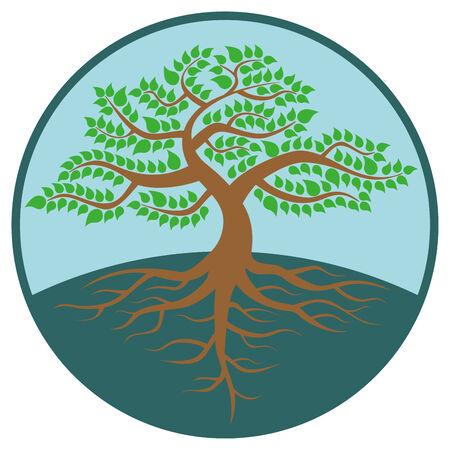 큰 나무와 로고 마크