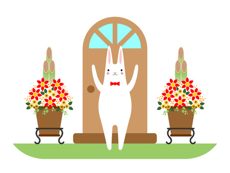 A rabbit and New Years pine and bamboo decorations  Illustration