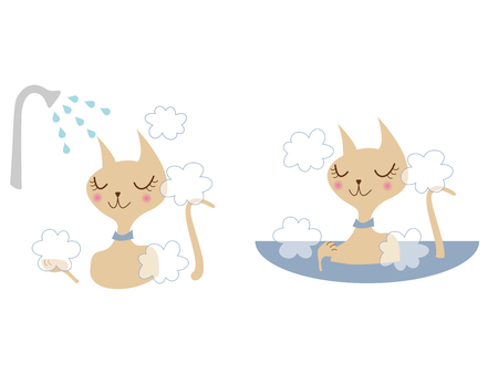 A cat and bathing  Illustration