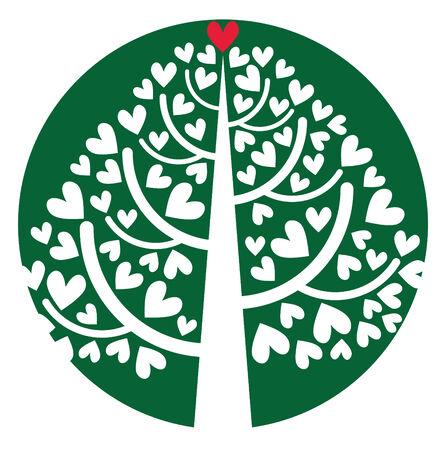 多くの心とツリー
