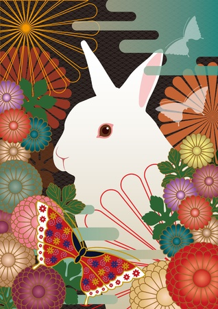 A rabbit and a Japanese-style design  Stock Photo