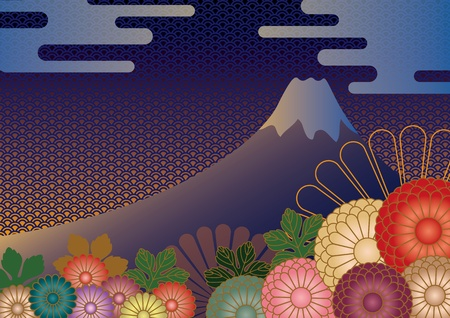 Mt. Fuji and flowers
