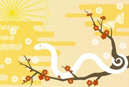 new year s card: a snake and Japanese apricot