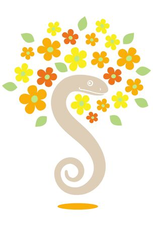 a snake and flowers